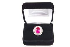 Anel cor-de-rosa do Topaz Foto de Stock