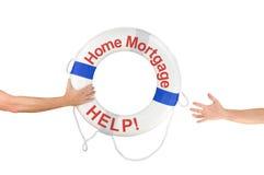 Anel da boia de vida da ajuda do financiamento de hipoteca sobre a casa Imagens de Stock
