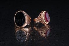 Anel da joia isolado no fundo preto Fotos de Stock Royalty Free