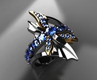 Anel da libélula no preto Imagens de Stock