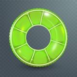 Anel da nadada Brinquedo de borracha inflável Ilustração realística do verão Projeto do cal Círculo da natação da vista superior  ilustração royalty free