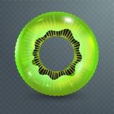 Anel da nadada Brinquedo de borracha inflável Ilustração realística do verão Projeto do quivi Círculo da natação da vista superio ilustração stock