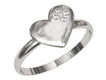 Anel da platina ou da prata na forma do coração Foto de Stock Royalty Free