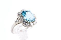Anel de Aquamarine fotografia de stock royalty free