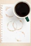 Anel de café no papel Foto de Stock