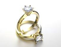 Anel de casamento com diamante Fundo preto da jóia da tela do ouro e da prata Fotografia de Stock