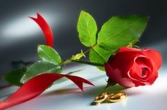 Anel de casamento com Rosa Fotografia de Stock Royalty Free