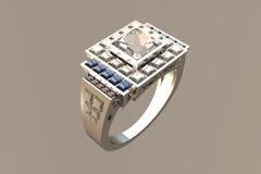 Anel de casamento de Diamante Platina da princesa Corte Fotos de Stock Royalty Free
