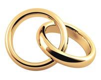 Anel de casamento do ouro dois 3d ilustração stock