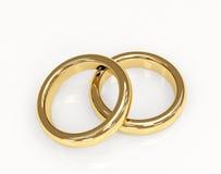 Anel de casamento do ouro dois 3d Fotografia de Stock Royalty Free