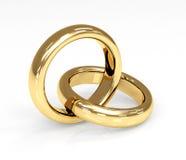 Anel de casamento do ouro dois 3d Imagens de Stock Royalty Free