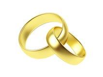 Anel de casamento dois em um fundo branco. Fotografia de Stock