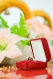 Anel de casamento na caixa vermelha Foto de Stock Royalty Free