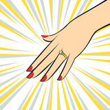 Anel de casamento na mão estilo do pop art ilustração royalty free