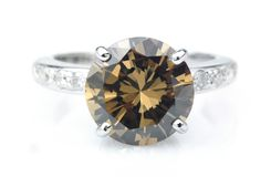 Anel de diamante de Brown Imagem de Stock Royalty Free