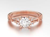 anel de diamante decorativo do ouro cor-de-rosa da ilustração 3D com ornamento Imagem de Stock Royalty Free