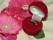 Anel de diamante na caixa de presente Imagem de Stock