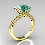 Anel de encantamento de aquamarine da princesa do ouro 18k amarelo Fotografia de Stock