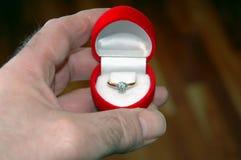 Anel de noivado Fotografia de Stock