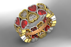 Anel de noivado da assinatura do amor Imagem de Stock
