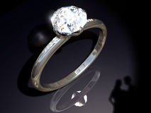 Anel de noivado do diamante Fotografia de Stock