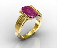 Anel de ouro com as gemas no fundo Imagens de Stock Royalty Free