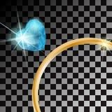 Anel de ouro com a pedra preciosa azul do coração no fundo transparente Ilustração do vetor Foto de Stock Royalty Free