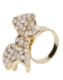 Anel de ouro com pedras Foto de Stock