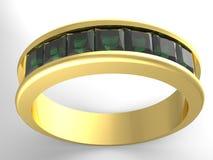 Anel de ouro das esmeraldas Fotografia de Stock