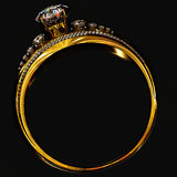 Anel de ouro do acoplamento com gema da joia Imagem de Stock Royalty Free