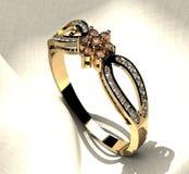 Anel de prata da cor com diamantes Imagens de Stock