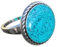 Anel de prata isolado no branco Foto de Stock Royalty Free