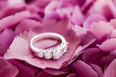 Anel do aniversário do diamante com os 5 grandes diamantes em flores imagem de stock