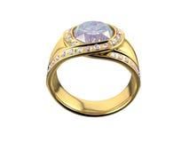 Anel dourado com diamante Fotos de Stock
