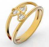 Anel dourado com o diamante isolado no branco Fotos de Stock Royalty Free
