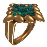 Anel dourado com safiras Fotografia de Stock Royalty Free