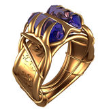 Anel dourado com safiras Imagens de Stock Royalty Free