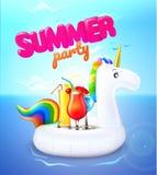 Anel inflável da associação do unicórnio do partido do verão do vetor ilustração stock