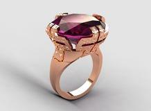 Anel italiano moderno da ametista do ouro da cor-de-rosa do estilo Foto de Stock Royalty Free