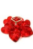 Anel nos corações de vidro Imagens de Stock