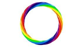 Anel torcido do arco-íris no fundo branco 3d isolados rendem filme