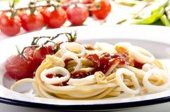 Anelli cotti del calamaro Fotografie Stock