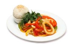 Anelli del calamaro - alimento gastronomico Fotografia Stock Libera da Diritti