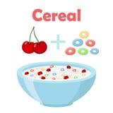 Anelli del cereale, ciliegia con la ciotola Prima colazione organica della farina d'avena con latte Immagini Stock