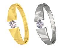 Anelli dell'argento e dell'oro con i diamanti Fotografia Stock