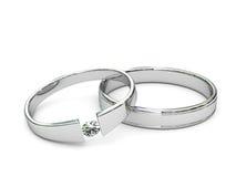 Anelli dell'argento o del platino con il diamante Fotografia Stock Libera da Diritti