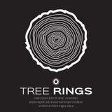 Anelli di albero bianchi fondo e tronco di albero del taglio della sega, silvicoltura e segheria illustrazione vettoriale