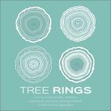 Anelli di albero fondo e vettore, silvicoltura e segheria del tronco di albero del taglio della sega Fotografie Stock Libere da Diritti