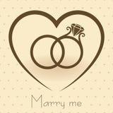 Anelli di cerimonia nuziale con cuore Fotografia Stock Libera da Diritti
