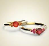 Anelli di cerimonia nuziale con i diamanti adatti i monili Immagini Stock